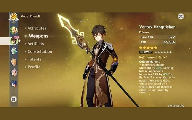 Genshin Impact character page for Zhongli with the Vortex Vanquisher polearm
