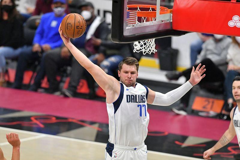 Luka Doncic grabs a rebound