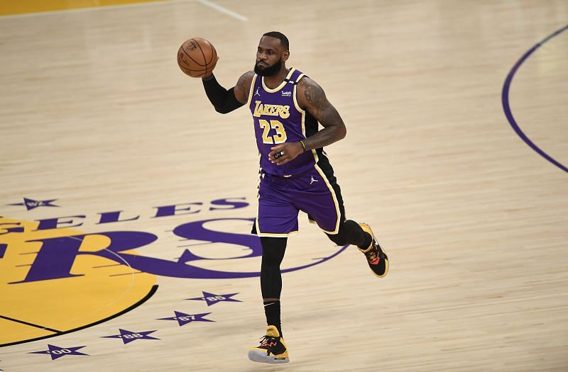 LeBron James in NBA 2020-21 action.