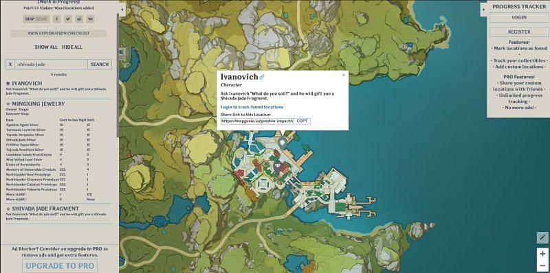 Using Map Genie to find Shivada Jade Slivers (Image via Sportskeeda)