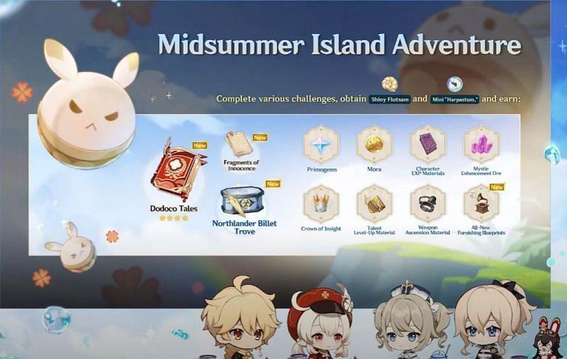 Midsummer Island Adventure rewards (Image via Genshin Impact)