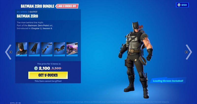 The Batman Zero Point skin is finally available in Fortnite. Image via Epic Games