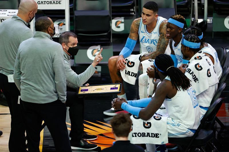 LA Lakers head coach Frank Vogel with his team during a time-out.