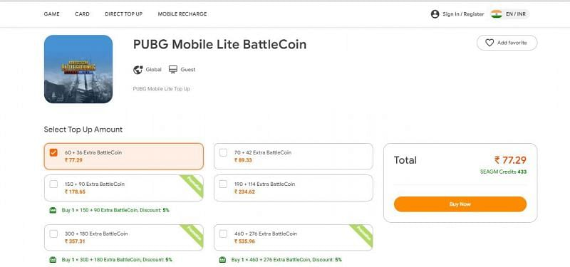 """Click on the desired top-up amount and click on """"Buy Now"""""""
