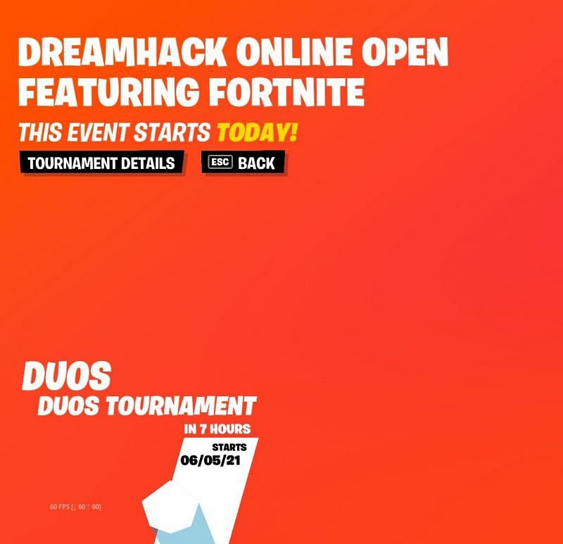 The NA-East heats for the Fortnite DreamHack Open begins in 7 hours. Image via Epic Games