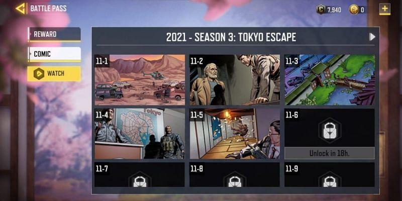 Tokyo Escape comic series in COD Mobile (Image via Activision)