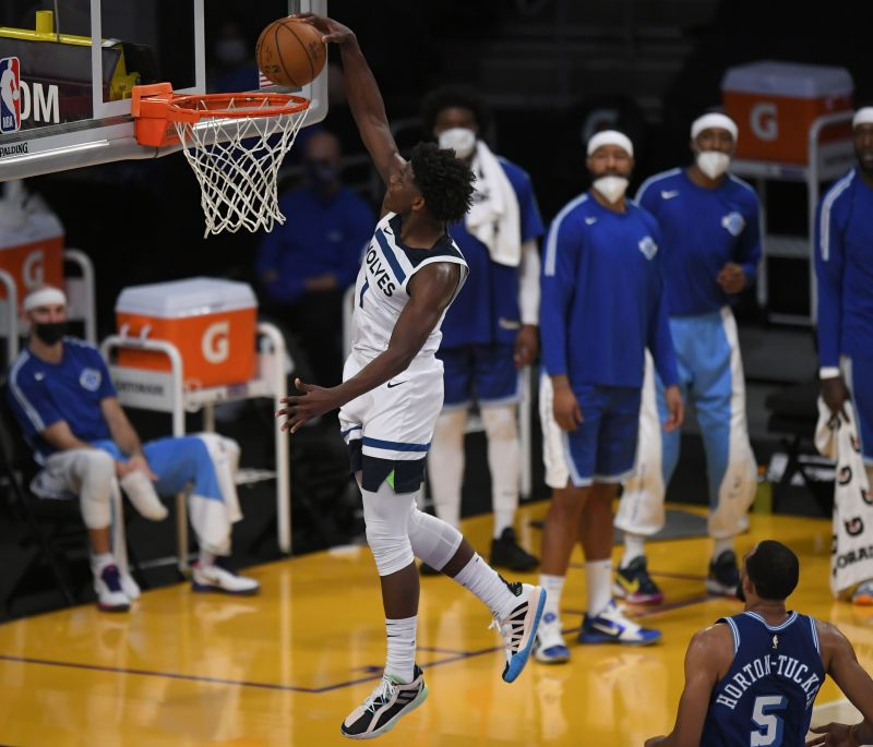 Anthony Edwards #1 of the Minnesota Timberwolves dunks against the Los Angeles Lakers at the Staples Center