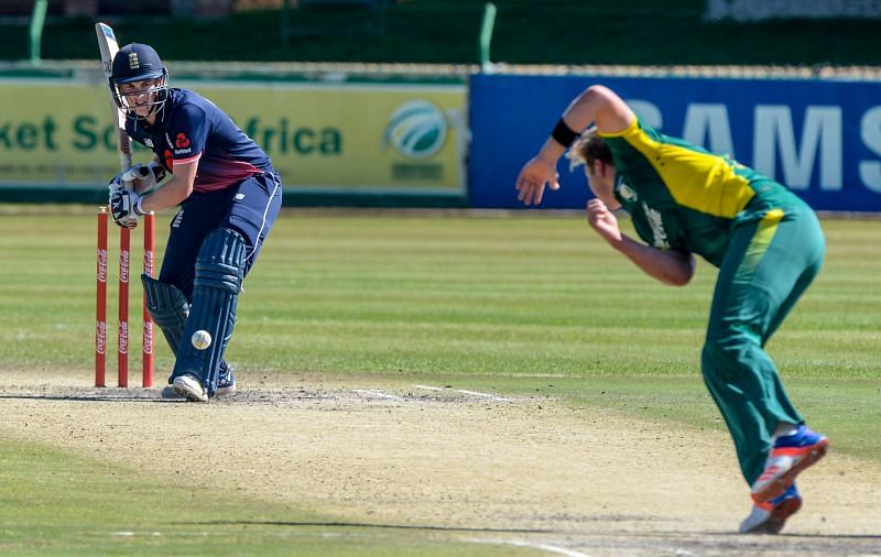 Gerald Coetzee bowls a delivery against England U-19s