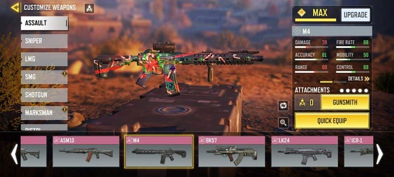 The M4 Assault Rifle gets unlocked at level 2 in COD Mobile