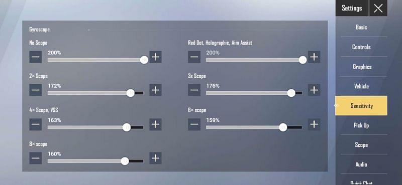 High gyroscope sensitivity settings for PUBG Mobile Lite