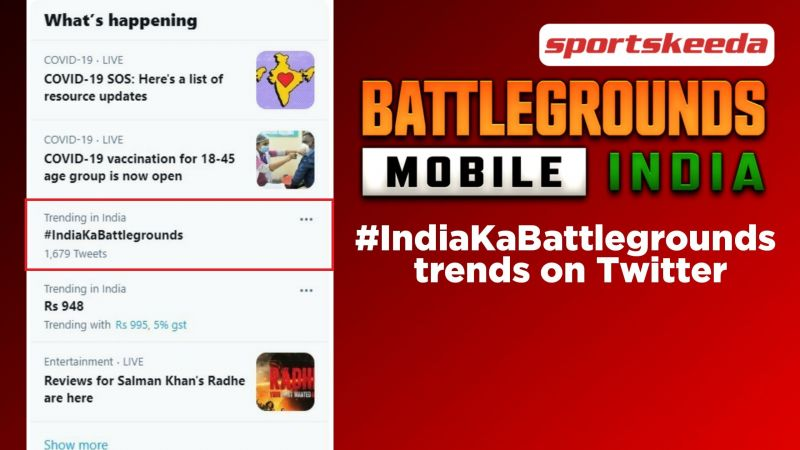#IndiaKaBattlegrounds trends on Twitter after the pre-registration announcement of Battlegrounds Mobile India (Image via Sportskeeda)
