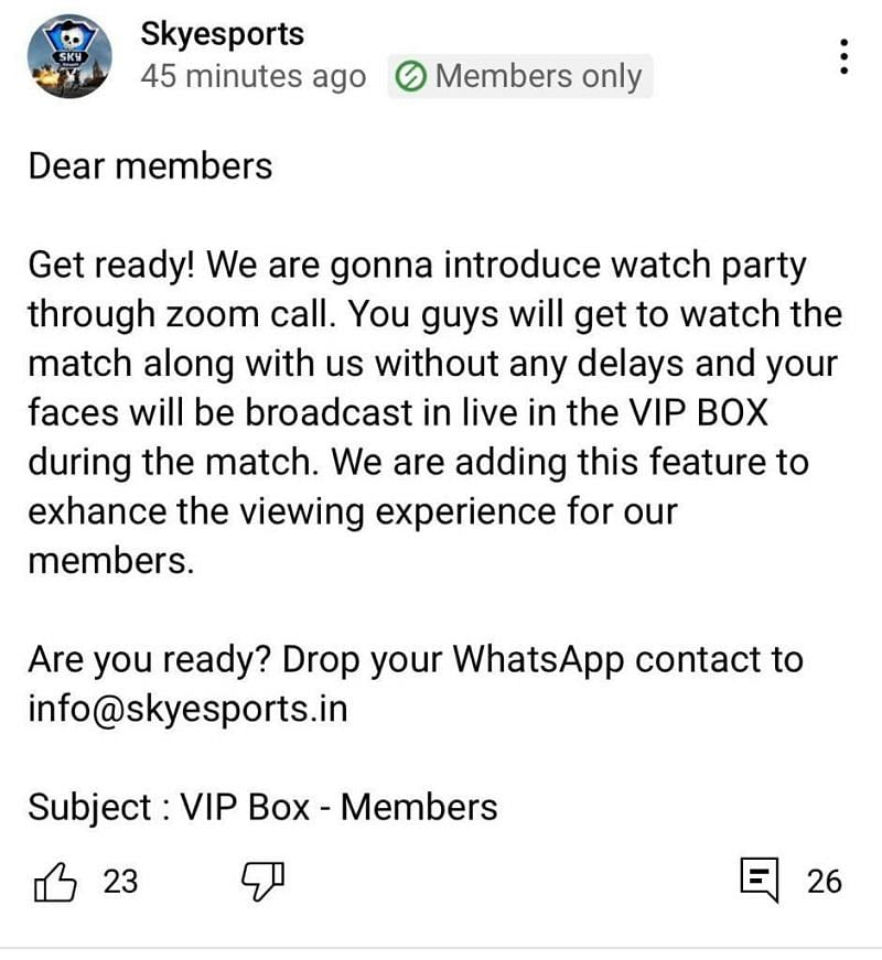 Skyesports inviting community members to join a live broadcast (Image via Skyesports League)