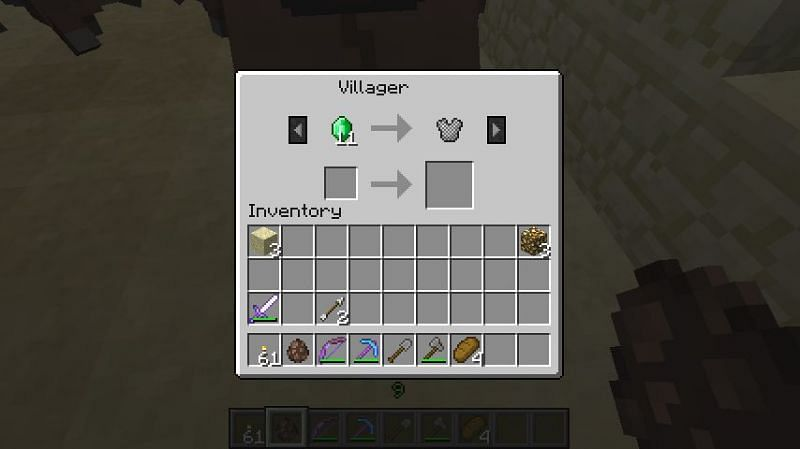 Trading for chainmail armor (Image via minecraft.fandom)