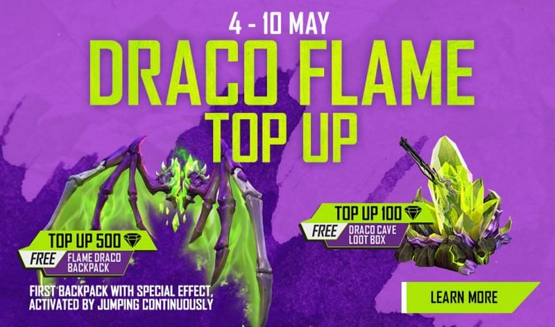 A new Draco Flame Top up has been introduced in Free Fire