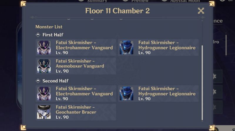 Floor 11 Chamber 2 enemies in Spiral Abyss 1.5