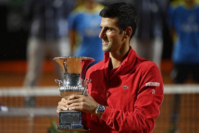 Novak Djokovic with the 2020 Italian Open trophy