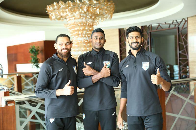 From L-R: Adil Khan, Mashoor Shereef and Ashutosh Mehta in Indian football team kit