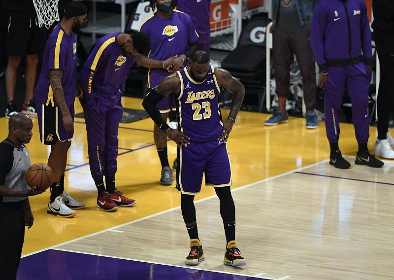 LeBron James (#23) reacts after LA Lakers