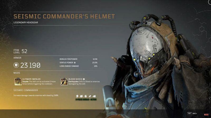 Seismic Commander Helmet (Image via YouTube, Tons of Damage)