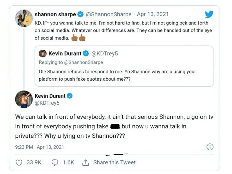 Kevin Durant vs Shannon Sharpe on Twitter