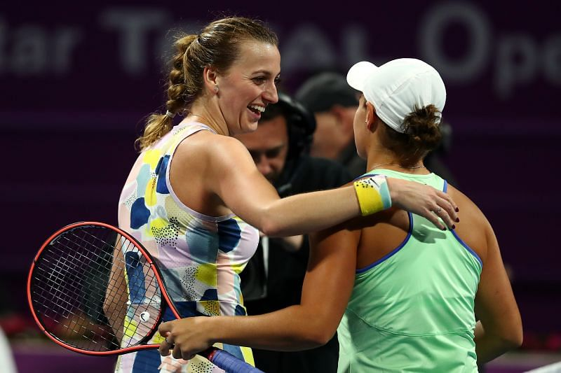 Petra Kvitova with Ashleigh Barty at the 2020 Qatar Total Open