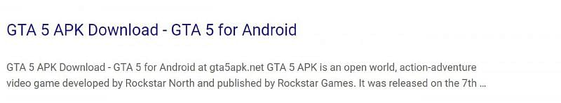 A snippet of one such phony link to the APK file
