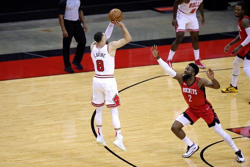 Zach LaVine #8 of the Chicago Bulls shoots a basket.