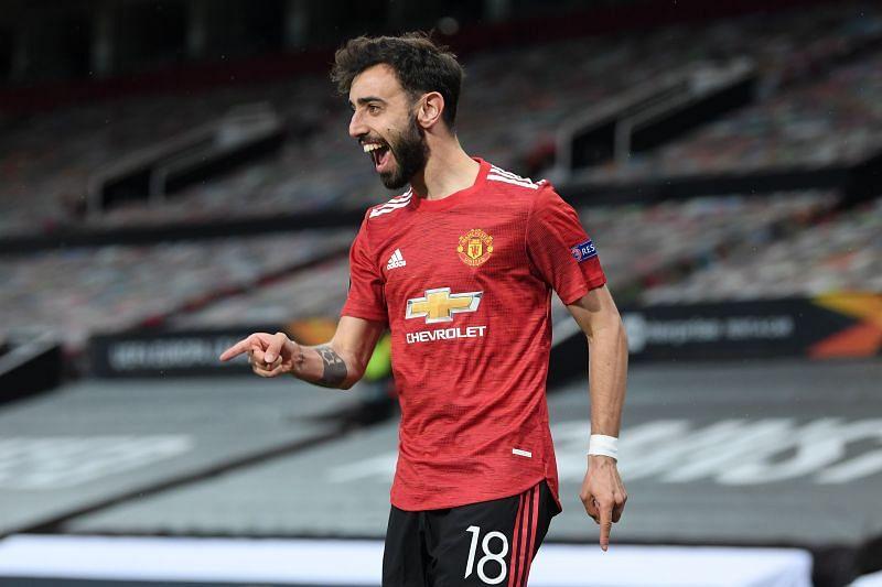 Bruno Fernandes celebrates a goal for Manchester United