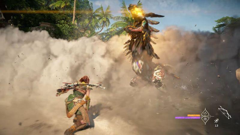 Aloy using smoke bombs (Image via Sony)
