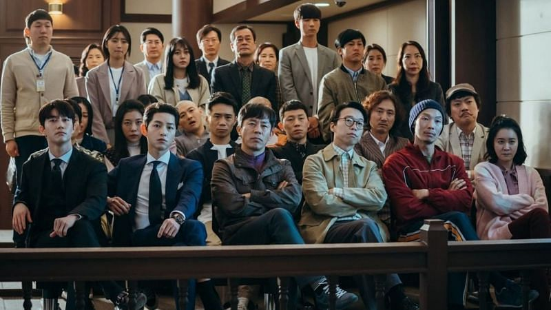 """Jipuragi Law Firm faces off against Babel and Woosang in Episode 19 of """"Vincenzo"""" (Image via tvN/Netflix)"""