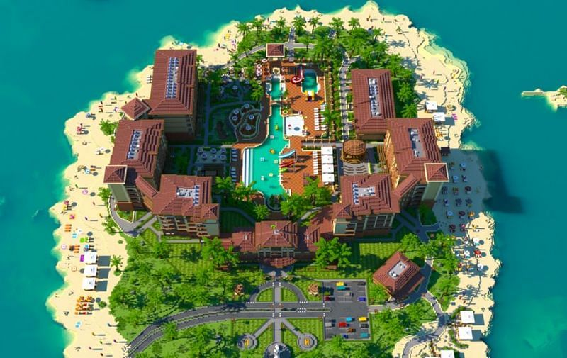 A beautiful and relaxing island resort (Image via u/Shapescape on Reddit)