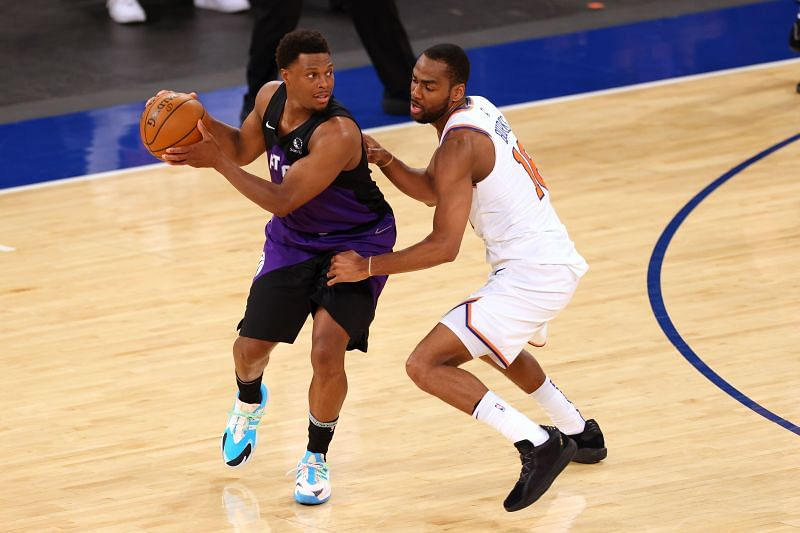 Kyle Lowry (L) could play tonight after missing the last game