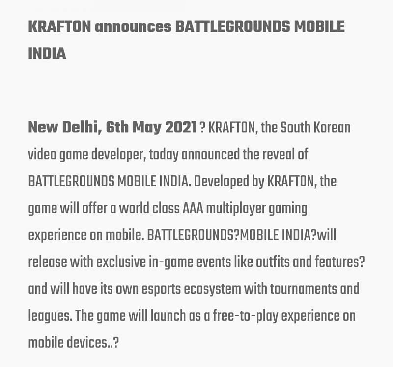 The announcement about exclusive events (Image via battlegroundsmobileindia.com)