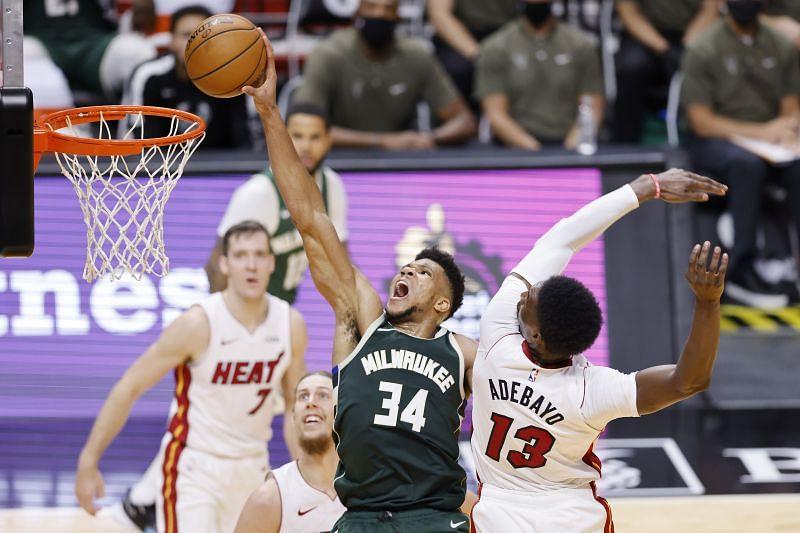 Giannis Antetokounmpo #34 of the Milwaukee Bucks dunks.