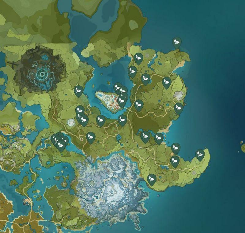 Dandelion Seed locations for Eula (Image via Sportskeeda)