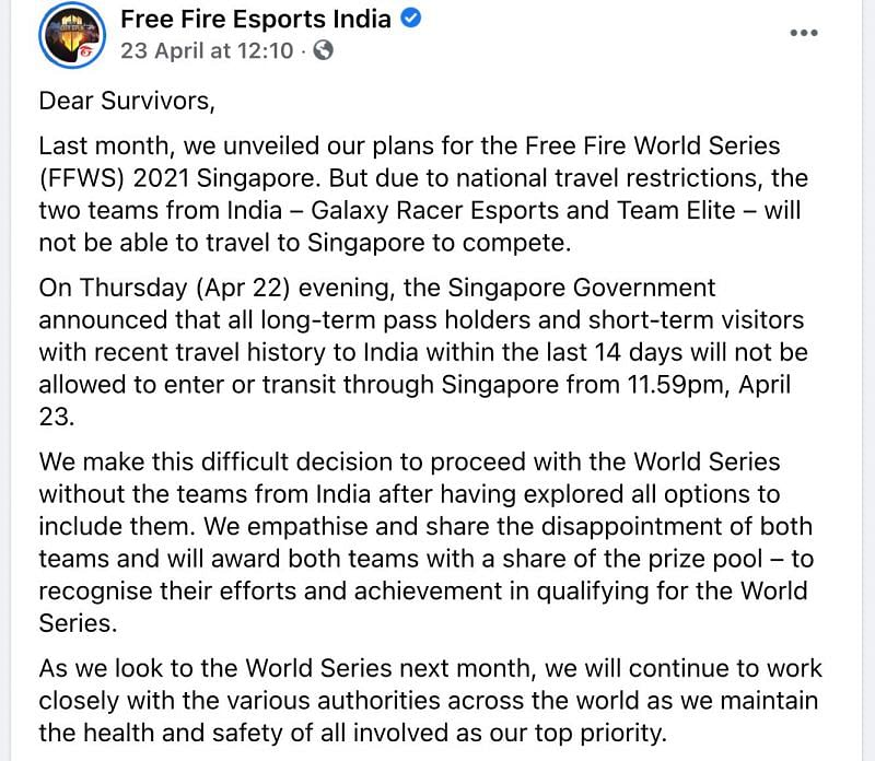 Free Fire World Series 2021 Singapore