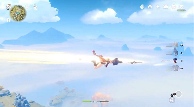 The flying character in Genshin Impact (Image via Mety333 - YouTube and miHoYo)