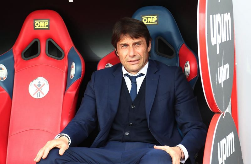 Inter Milan manager Antonio Conte looks on