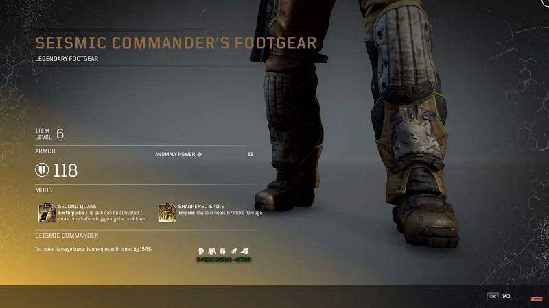 Seismic Commander Footgear (Image via YouTube, Tons of Damage)