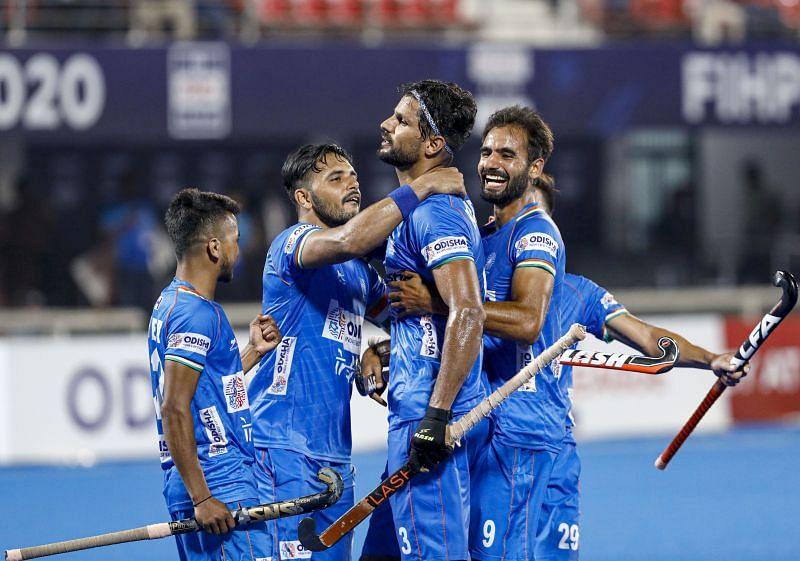 Rupinder Pal Singh (C) celebrates after scoring in the FIH Pro League in 2020. (Source: HI)