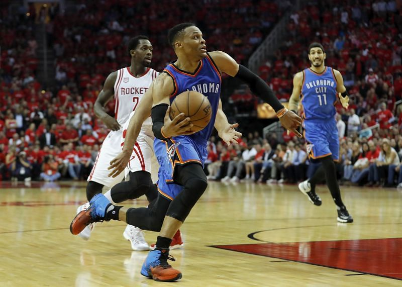 Russell Westbrook with the OKC Thunder against the Houston Rockets