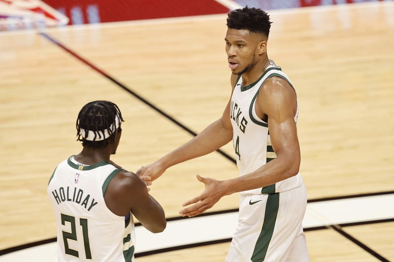 Both Jrue Holiday and Giannis Antetokounmp (right) are part of this hypothetical combined lineup.