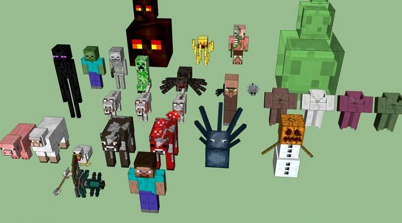 Shown: A bunch of 3D rendered Minecraft mobs (Image via 3dwarehouse)