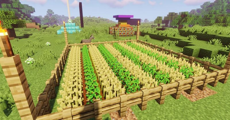 Shown: A super-efficient and compact farm in Minecraft (Image via Minecraft)