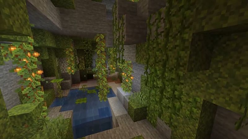 Glow berries found inside a lush cave in Minecraft