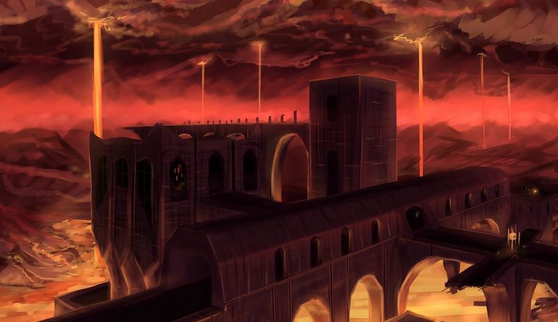 A haunting rendition of a Nether Fortress (Image via Algoinde on Deviantart)