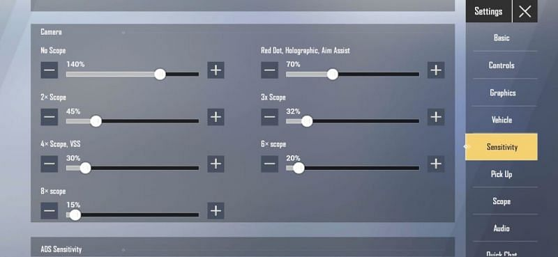 Camera sensitivity settings in PUBG Mobile Lite