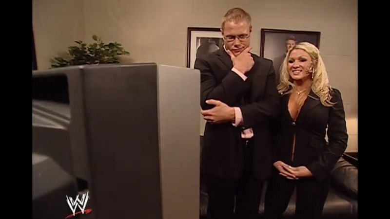 Palmer Canon and Jillian Hall backstage on WWE SmackDown