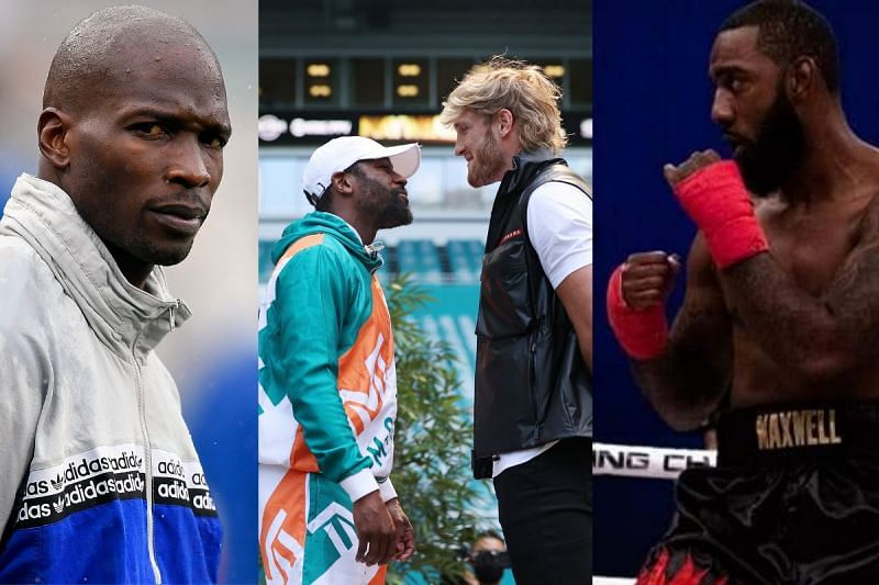 Chad Johnson (left); Floyd Mayweather faces-of against Logan Paul (center); Brian Maxwell (right) [Maxwell Image Courtesy: Brian Maxwell MMA Fighter page on Facebook