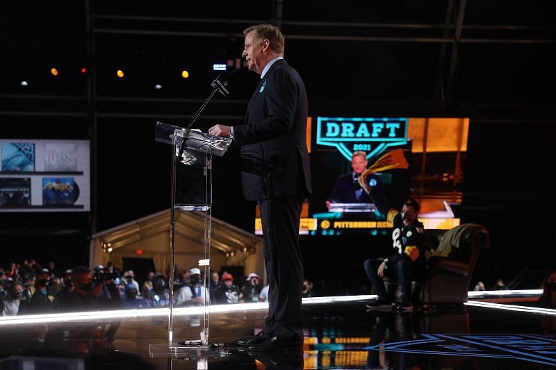 NFL Commissioner Roger Goodell announces Najee Harris as the 24th selection by the Pittsburgh Steelers during the first round of the 2021 NFL Draft.